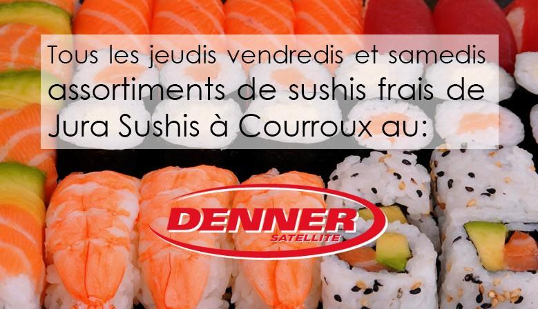 Assortiments de sushis au Denner Satellite de Courroux tous les vendredis et samedis